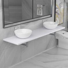 shumee 3dílný set koupelnového nábytku keramika bílý