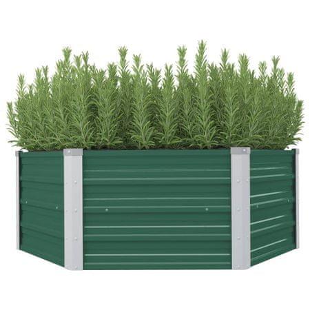 shumee Dvignjeno cvetlično korito 129x129x46 cm pocinkano jeklo zeleno