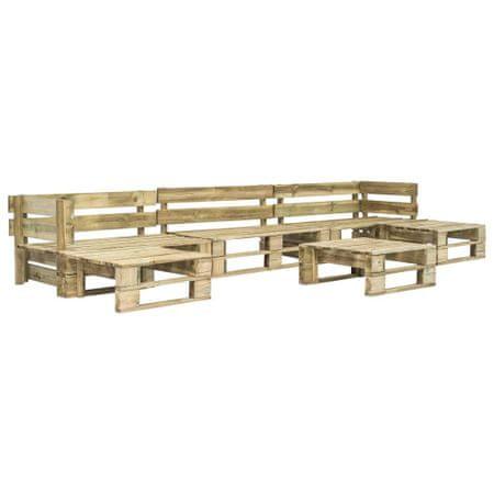 shumee Vrtna sedežna garnitura iz palet 6-delna lesena