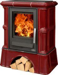 ABX Kachlová kamna ABX BAVARIA K 12 kW, hnědá, sokl selský, dřevo/dřevěné brikety + teplovodní výměník 6,9 kW