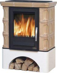 ABX Kachlová kamna ABX IBERIA K 12,4 kW, torf, selský sokl, dřevo/dřevěné brikety včetně teplovodního výměníku 6,9 kW