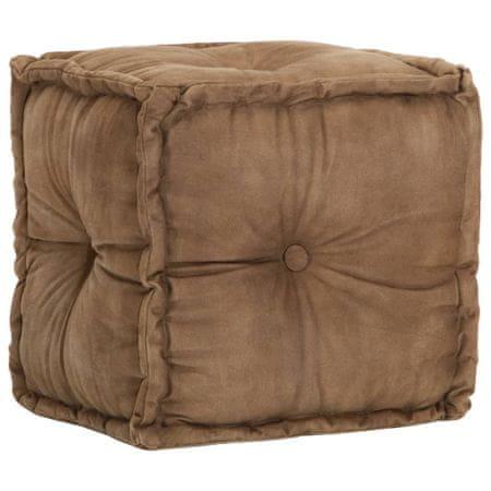 Puf, 40x40x40 cm, brązowy, płótno bawełniane