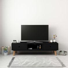 shumee TV skrinka čierna 120x35x35 cm borovicový masív