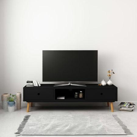 shumee TV omarica črna 120x35x35 cm trdna borovina