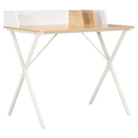 shumee fehér és természetes színű íróasztal 80 x 50 x 84 cm