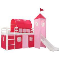 Rám detskej poschodovej postele so šmykľavkou a rebríkom 97x208 cm borovica