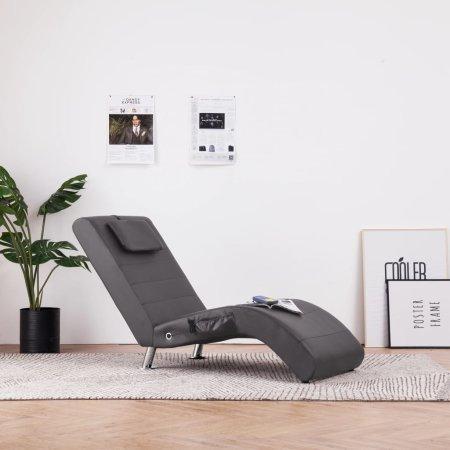 slomart Masažni počivalnik z blazino sivo umetno usnje