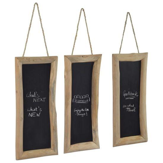 shumee Tabule 3 ks 30 x 70 cm masivní teakové dřevo