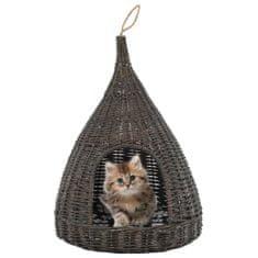 Domek dla kota z poduszką, szary, 40x60 cm, wiklina, tipi