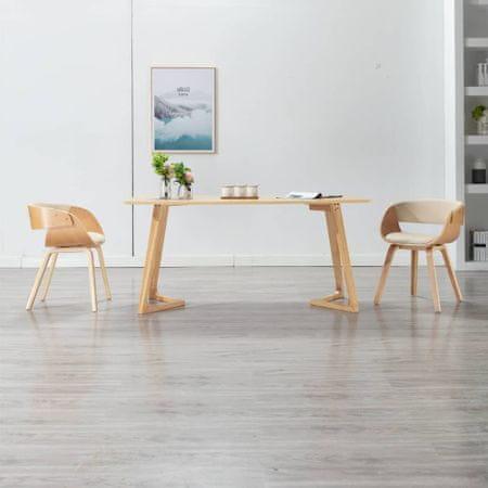 slomart Jedilni stoli 2 kosa krem ukrivljen les in umetno usnje