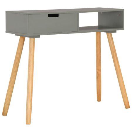 shumee szürke tömör fenyőfa tálalóasztal 80 x 30 x 72 cm