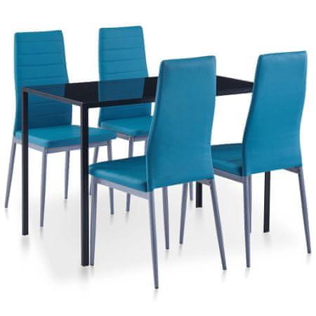 5-częściowy zestaw mebli do jadalni, niebieski