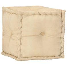 Puf, 40x40x40 cm, kolor piaskowy, płótno bawełniane