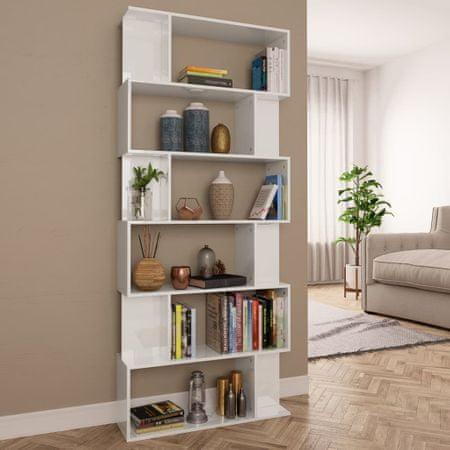 Regał na książki/przegroda, wysoki połysk, biały, 80x24x192 cm
