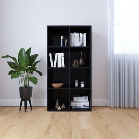 shumee Regał na książki/szafka, wysoki połysk, czarny, 66x30x130 cm