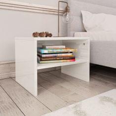 shumee Noční stolky 2 ks bílé s vysokým leskem 40x30x30 cm dřevotříska