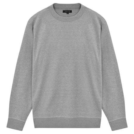 5 swetrów męskich z okrągłym dekoltem, szary, XL