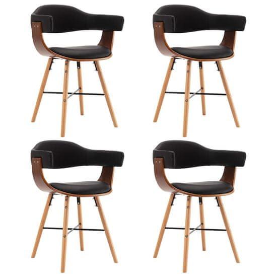 Jedálenské stoličky 4 ks, čierne, umelá koža a ohýbané drevo