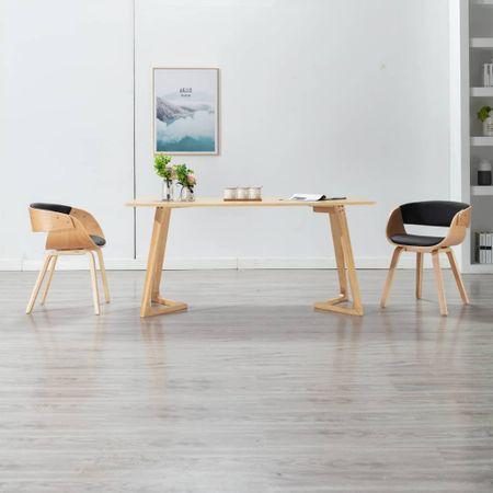 shumee Jedilni stoli 2 kosa črni ukrivljen les in umetno usnje
