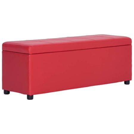 shumee Klop s prostorom za shranjevanje 116 cm rdeče umetno usnje