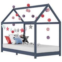 shumee Detský posteľný rám sivý 70x140 cm borovicový masív