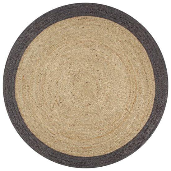 Ručne vyrobený jutový koberec s tmavo-sivými okrajmi 90 cm