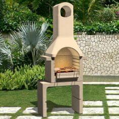 Betonowy grill z kominem, na węgiel drzewny