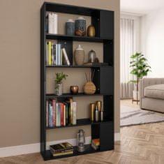 shumee Knižnica/deliaca stena, čierna 80x24x159 cm, drevotrieska