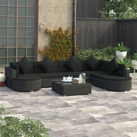 8-cz. zestaw mebli do ogrodu z poduszkami, polirattan, czarny