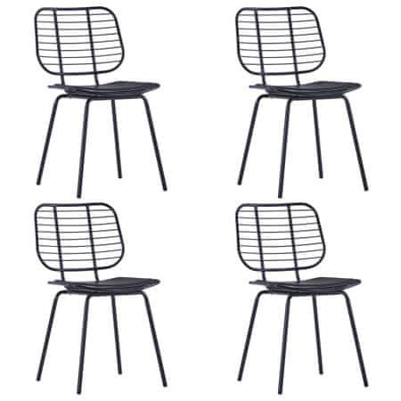 shumee Jedilni stoli s sedeži iz umetnega usnja 4 kosi črno jeklo