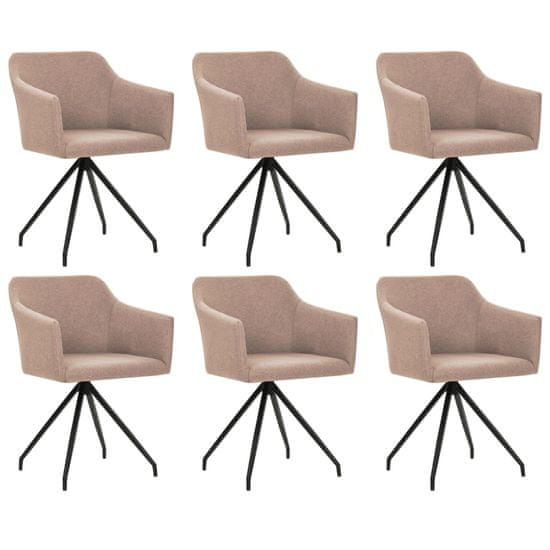Otočné jedálenské stoličky 6 ks, sivohnedé, látka