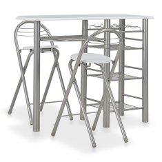 shumee 3dílný barový set s policemi dřevo a ocel bílý