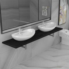 shumee 3dílný set koupelnového nábytku keramika černý