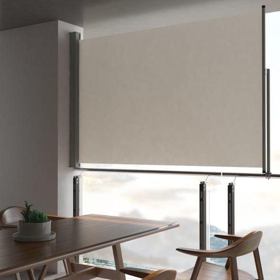 Zaťahovacia bočná markíza na terasu krémová 160 x 300 cm