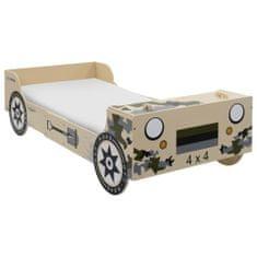Detská posteľ v dizajne terénneho auta 90x200 cm maskáčová