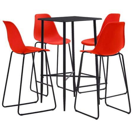 5-częściowy zestaw mebli barowych, plastik, czerwony