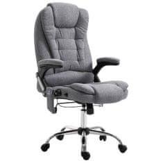 Masážne kancelárske kreslo sivé polyester