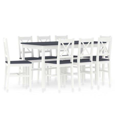 shumee 9 darabos fehér és szürke fenyőfa étkezőgarnitúra
