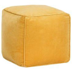 Puf, aksamit bawełniany, 40 x 40 x 40 cm, żółty