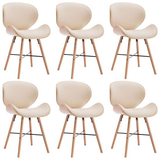 Jedálenské stoličky 6 ks, krémové, umelá koža a ohýbané drevo