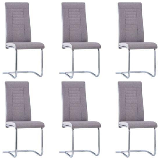 Jedálenské stoličky, perová kostra 6 ks, sivohnedé, látka