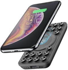 CellularLine Powerbanka Octopus Wireless s bezdrátovým nabíjením a přísavkami, 5000 mAh, černá FREEPOCTOPUS5WIRK