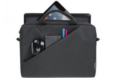 Moderna torba za prenosnik Rivacase 8720 13,3'' 8720-gr elegantna gladka površina iz odporne tkanine prostorna oblazinjenje notranje stene sprednji žep za telefon dvojna zadrga hiter in lahek dostop naramnica nizka teža