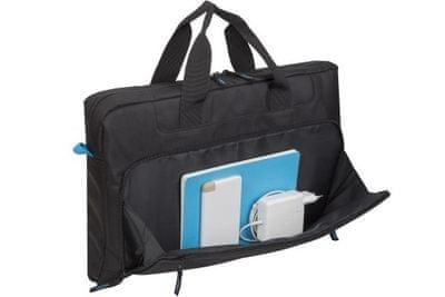 moderná taška na notebook RivaCase 8059 taška 17,3 palcov 8059-b elegantné hladké prevedenie z polyesterovej odolnej tkaniny priestranná s extra priehradkou pre notebook bezpečná predné vrecko pre mobil duálny zips rýchly a jednoduchý prístup ramenný popruh nízka váha