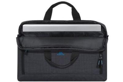 moderná taška na notebook rivacase 8058 taška 17,3 palcov 8058-bndl s bezdrôtovou myšou elegantné hladké prevedenie z polyesterovej odolnej tkaniny priestranná s extra priehradkou pre notebook bezpečné predné vrecko pre mobil duálny zips rýchly a jednoduchý prístup ramenný popruh nízka váha