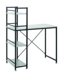 Mørtens Furniture Počítačový stůl s integrovanou policí Vickie, 114 cm, beton/černá