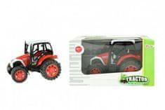 Teddies Traktor na setrvačník plast 14cm v krabičce 19x11x11cm červený