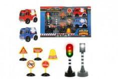 Teddies Auto 2ks policie,hasiči+semafor,radar,značky plast na bat. se zvukem se světlem v krab. 38x22,5x7cm