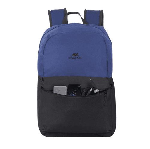 Notranji prednji žep prenosnik za majhne predmete Riva Case nahrbtnik za 15.6 prenosnik, moder/črn (5560-CBB)