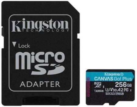 Kingston Canvas Go! Plus microSD 256 GB spominska kartica + microSD adapter